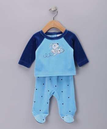 Blue & Navy Plane Velour Top & Footie Pants - Infant