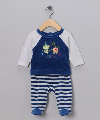 Blue Stripe Robot Velour Top & Footie Pants - Infant