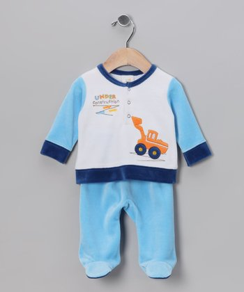 White & Blue Tractor Velour Top & Footie Pants - Infant