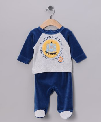 Navy & Gray Ship Velour Top & Footie Pants - Infant