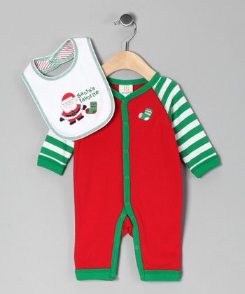 Absorba Red & Green Stocking Playsuit & Bib