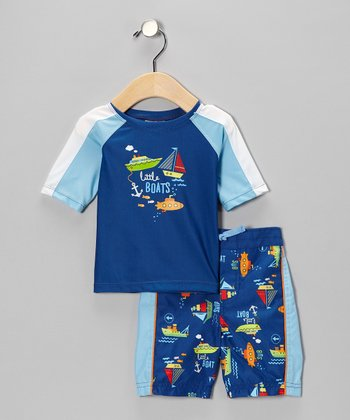 Blue 'Little Boats' Rashguard & Swim Trunks - Infant