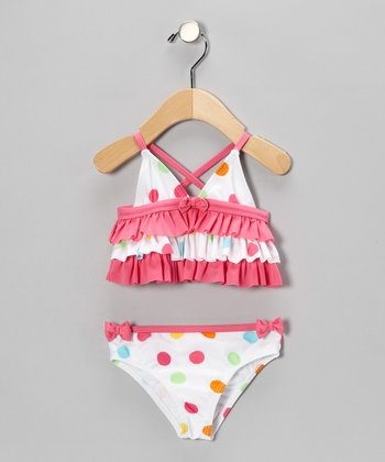 White & Pink Polka Dot Ruffle Tankini - Infant
