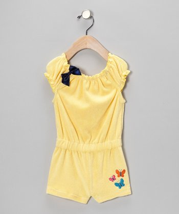 Yellow Butterfly Ribbon Bow Romper - Infant & Toddler