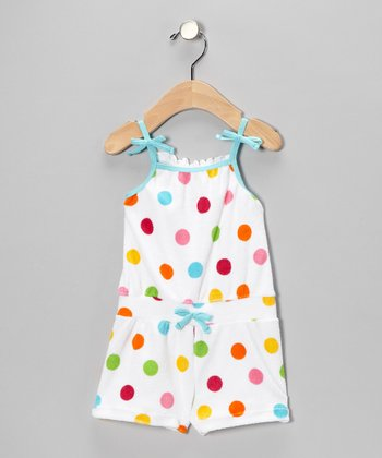 White & Teal Polka Dot Romper - Infant & Toddler