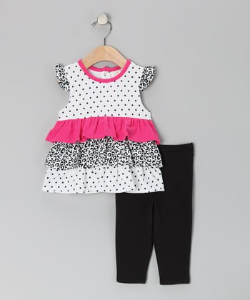 Black & Pink Polka Dot Ruffle Tunic & Leggings - Infant & Toddler