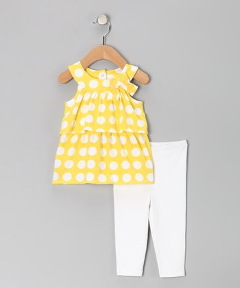 White & Yellow Polka Dot Bow Tunic & Leggings - Toddler