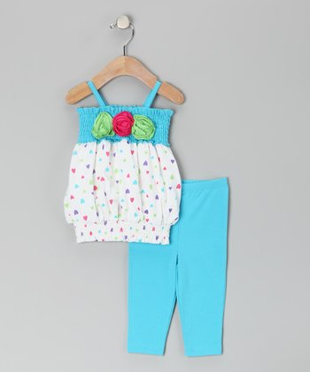 White & Teal Flower Smocked Tunic & Leggings - Toddler