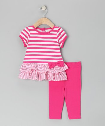White & Pink Stripe Bow Tunic & Leggings - Toddler