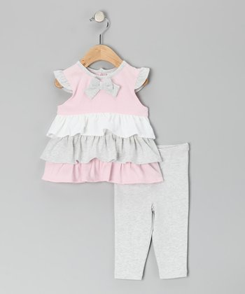 Gray & Pink Ruffle Bow Tunic & Leggings - Toddler
