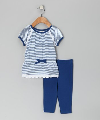 Blue & White Stripe Bow Tunic & Leggings - Infant & Toddler