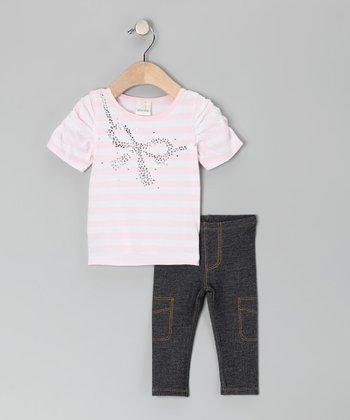 Pink Stripe Bow Tunic & Leggings - Infant & Toddler