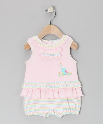 Pink Love Bird Ruffle Romper - Infant