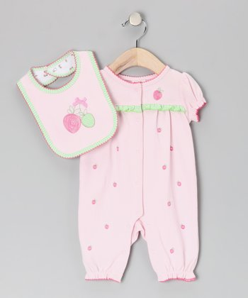 Pink Strawberry Ruffle Playsuit & Bib - Infant