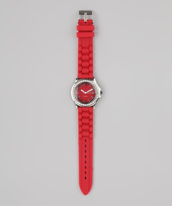 Red & Silver Stone Watch