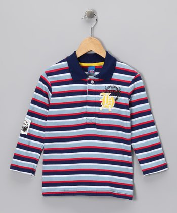 Red & Navy Stripe Polo - Boys