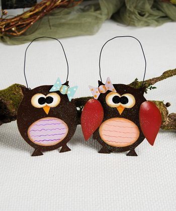 Brown & Red Owl Ornament Set