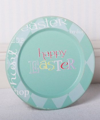 Aqua 'Happy Easter' Decorative Plate