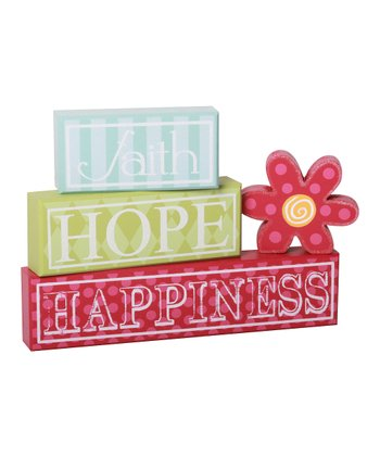 'Faith Hope Happiness' Block Set