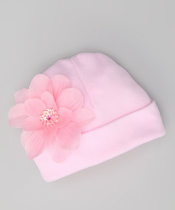 Light Pink Flower Beanie - Infant