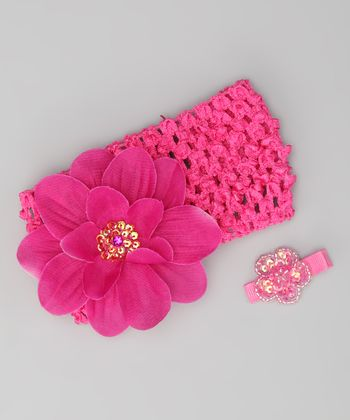 Hot Pink Flower Headband & Barrette