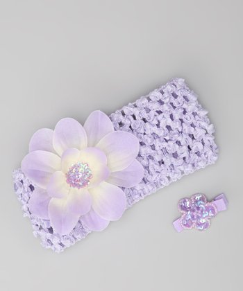 Lavender Flower Headband & Barrette