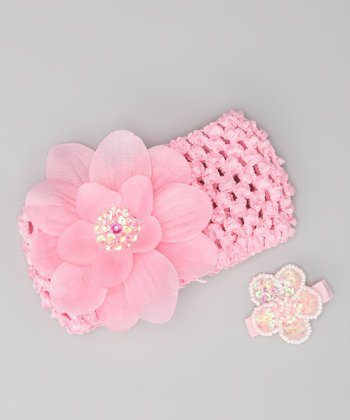 Light Pink Flower Headband & Barrette
