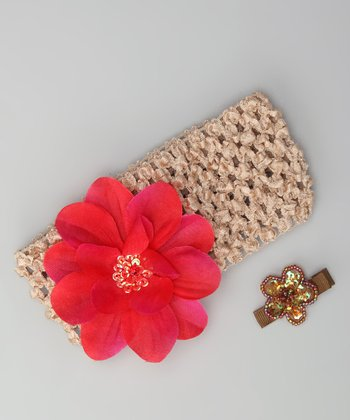 Beige Flower Headband & Barrette
