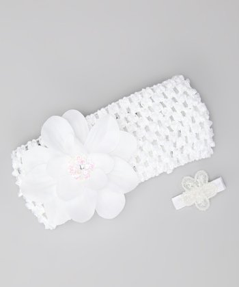 White Flower Headband & Barrette