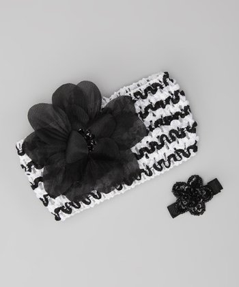 Zebra Flower Headband & Barrette