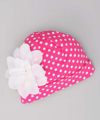 Hot Pink & White Polka Dot Beanie - Infant