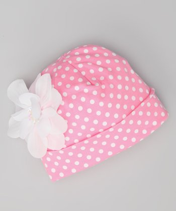 Light Pink & White Polka Dot Beanie - Infant