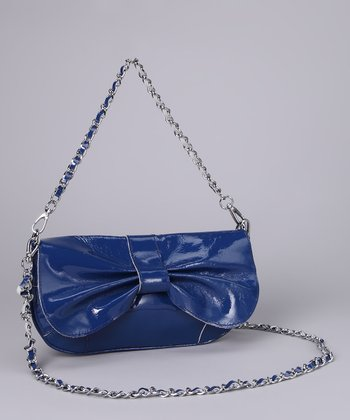 Blue Bow Patent Shoulder Bag