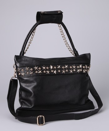 Black Studded Star Shoulder Bag