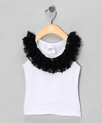 White & Black Lace Ruffle Tank - Toddler