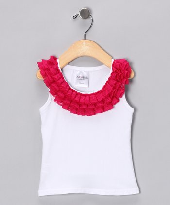 White & Raspberry Pink Lace Ruffle Tank - Toddler