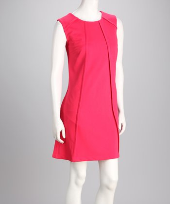 Fuchsia Pleated A-Line Dress