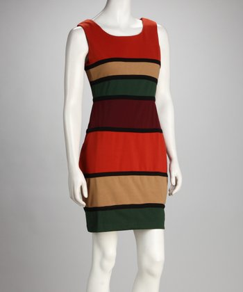 Orange & Green Mod Color Block Dress