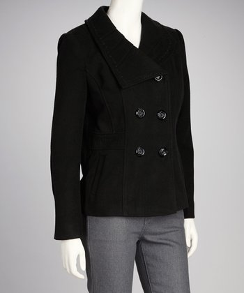 Black Asymmetrical Collar Coat