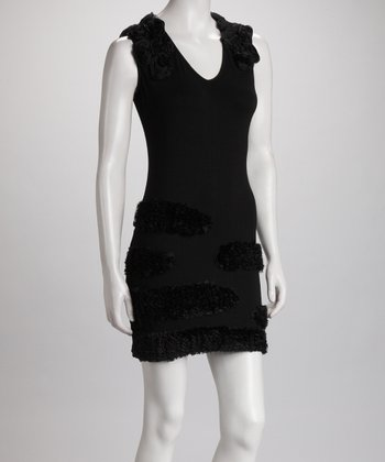 Black Rosette Sleeveless Dress - Women