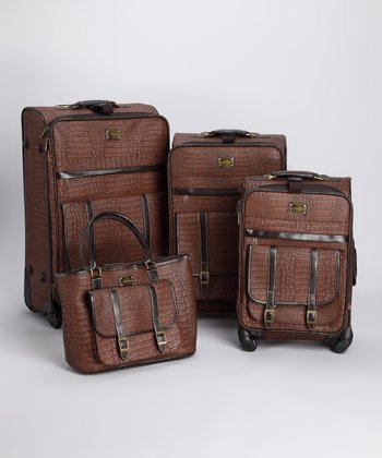 Brown Matte Croco 4-Piece Luggage Set