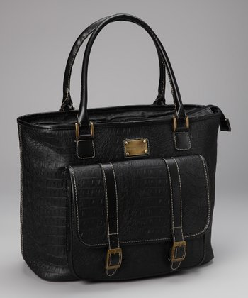 Black Crocodile Pocket Laptop Tote
