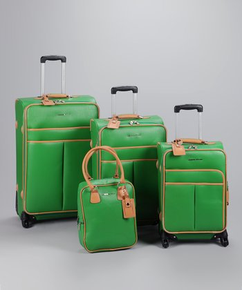 Green & Tan 4-Piece Luggage Set