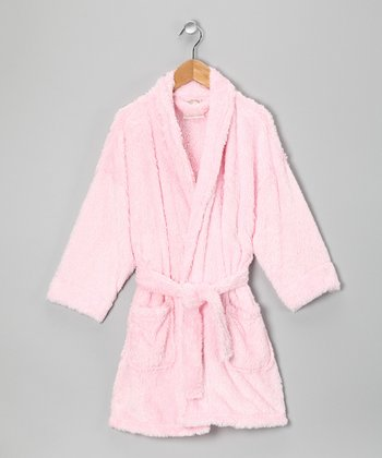 Light Pink Sherpa Bathrobe - Girls