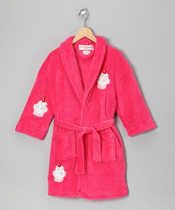 Fuchsia Cupcake Bathrobe - Girls