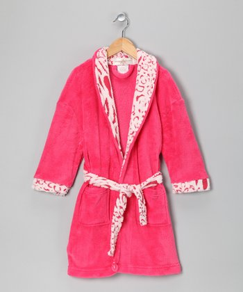 Fuchsia Jungle Cat Bathrobe - Girls