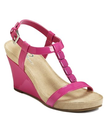 Pink Patent Rose Plush Wedge Sandal