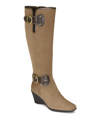 Tan Wonderling Wide-Calf Wedge Boot