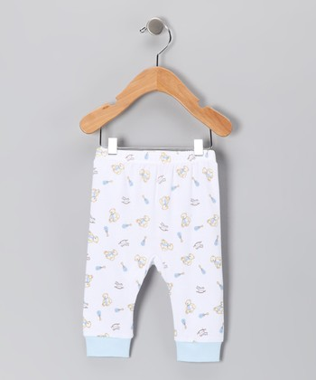 White & Blue Bear Cuff Pants - Infant