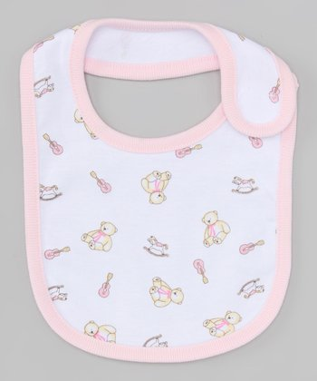 White & Pink Bear Bib